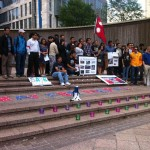 A Crowd gathers for the Nepali Earthquake Vigil at Woodruff Park.  Photo by Clair Irvin | The Signal